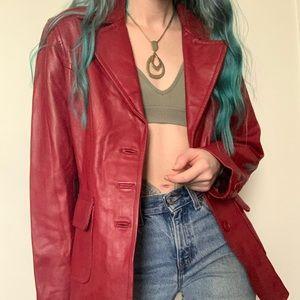 Red L.L. Bean leather blazer jacket